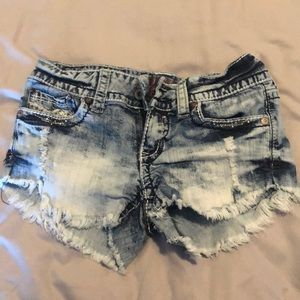 Frayed Hydraulic Jean Shorts